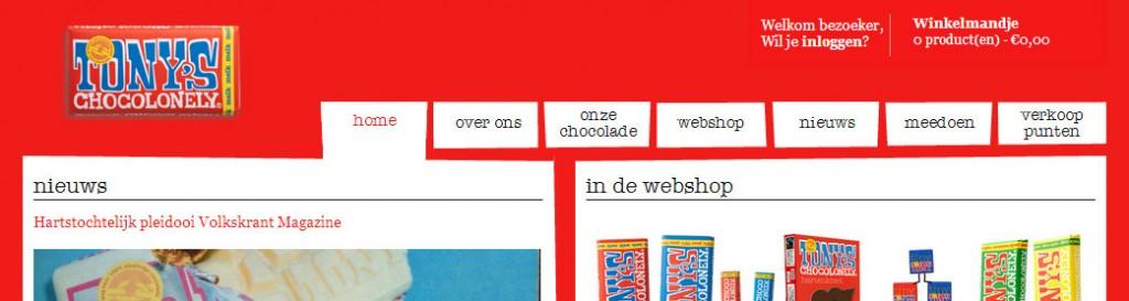 Bovenste gedeelte van de website van Tony's Chocolonely