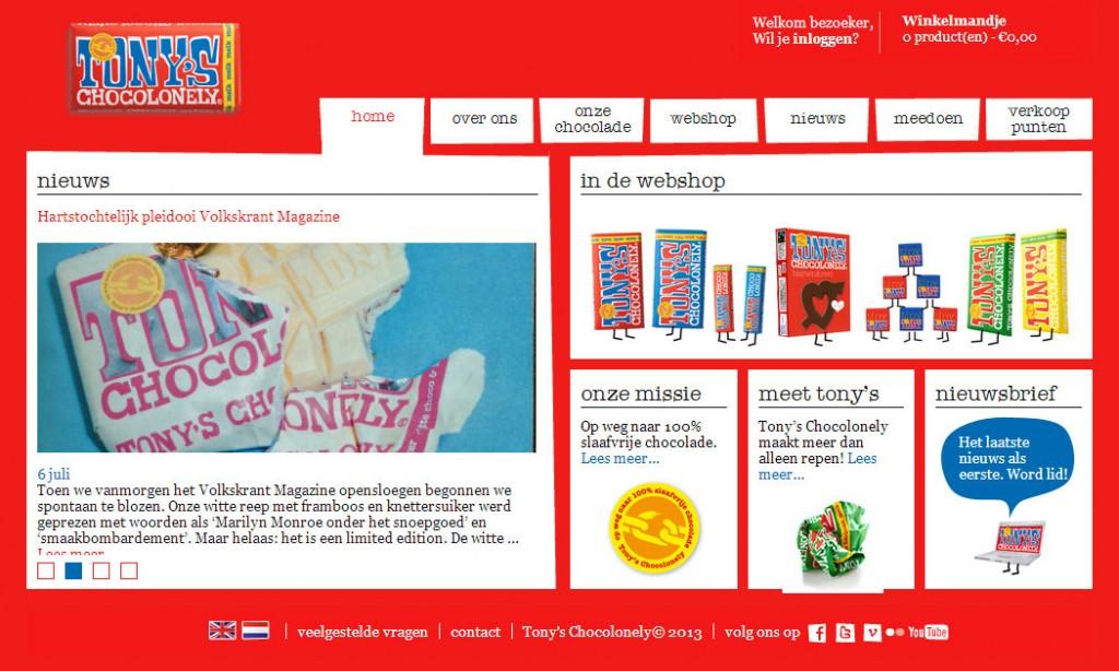 Homepage van Tony's Chocolonely