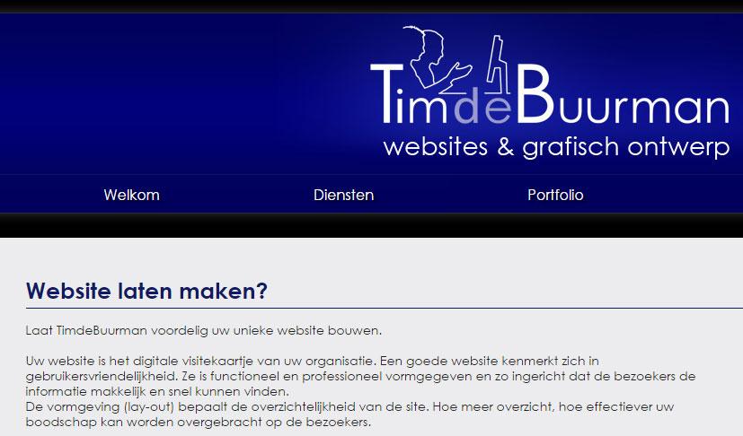 Tim de Buurman bouwt voordelig jouw unieke website...
